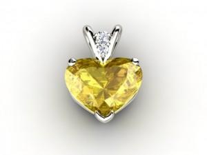 heart shaped yellow sapphire pendant