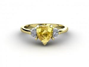 heart shaped yellow sapphire ring