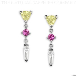 Natural Sapphire TriColor Earrings J1482