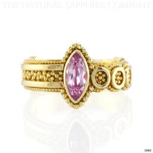 pink sapphire ring in yellow gold