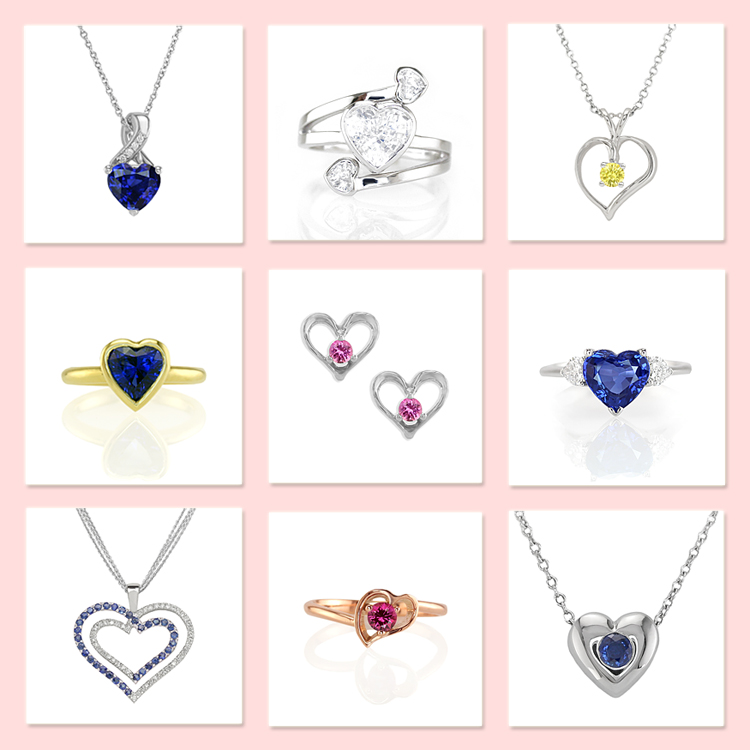 Natural sapphire jewelry heart collection