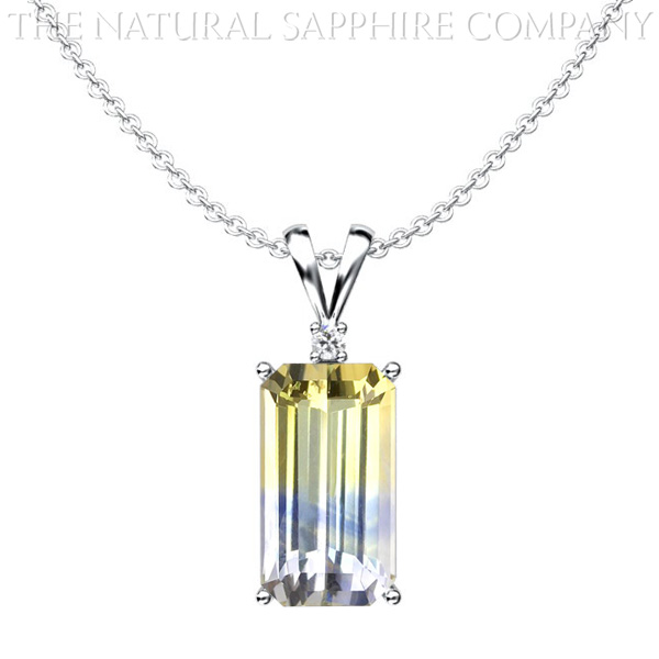 Natural Bi-Color Blue and Yellow Sapphire Pendant