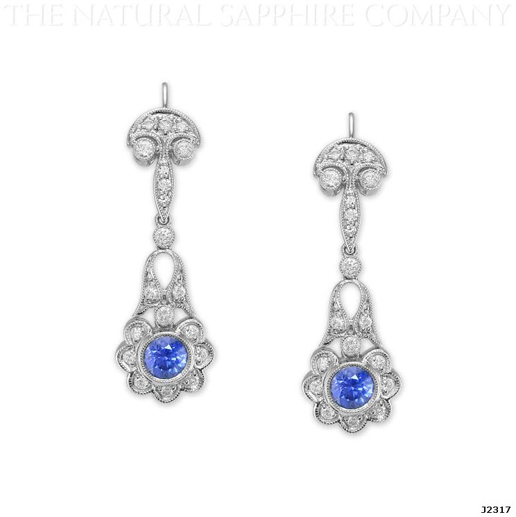 J2317 Natural Untreated Blue Sapphire and Diamond Earrings