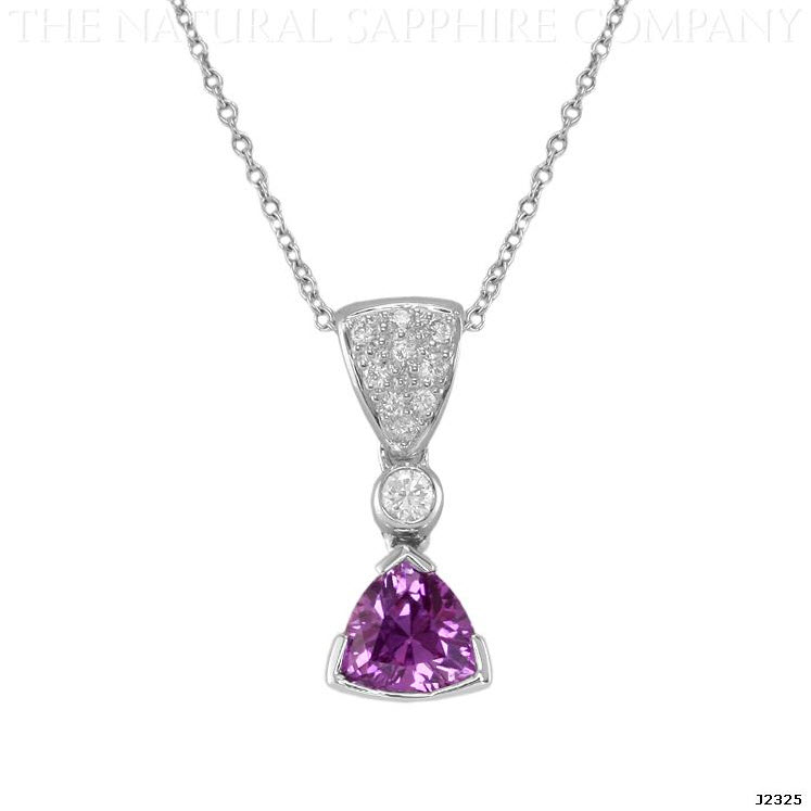 J2325 Natural Untreated Plum Colored Sapphire and Diamond Pendant