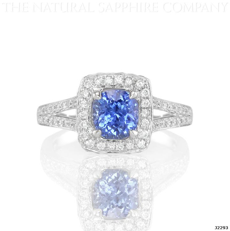 cushion cut natural blue sapphire ring