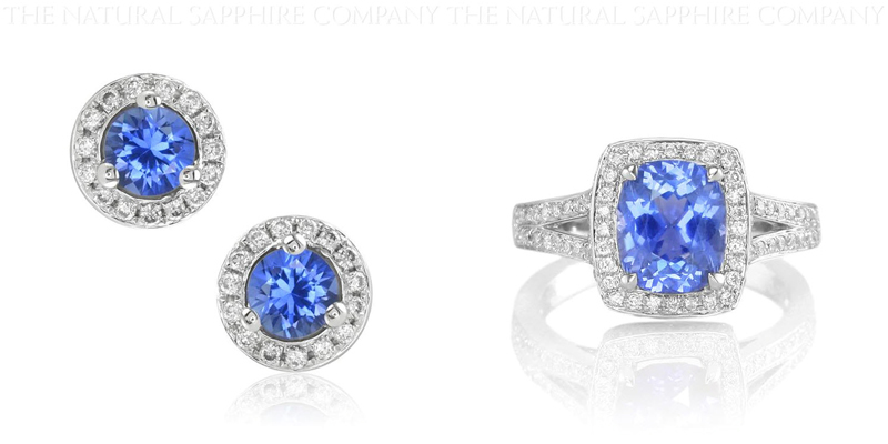 Natural Untreated Blue Sapphire and Diamond Earrings and Blue Sapphire and Diamond Ring