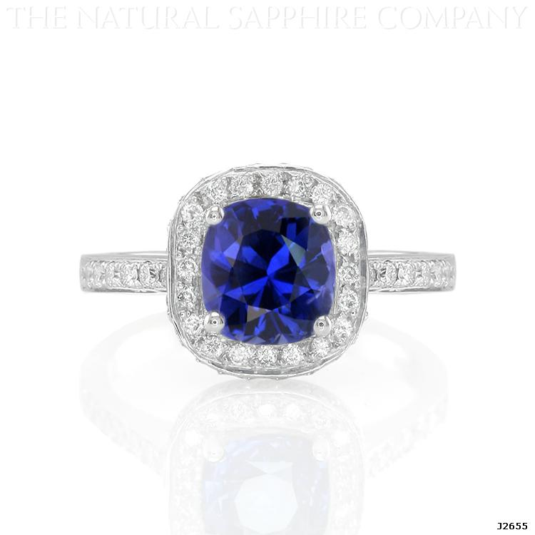 Natural Untreated Cushion Cut Blue Sapphire and Pave Diamond Engagement Ring