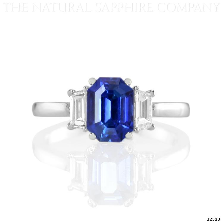 Natural Untreated Emerald Cut Blue Sapphire and Diamond Three Stone Ring