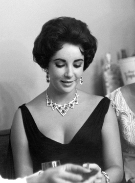 Elizabeth Taylor Wearing Cartier Ruby and Diamond Necklace