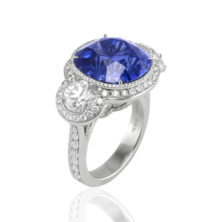 Natural Untreated Blue Sapphire and Diamond Engagement Ring