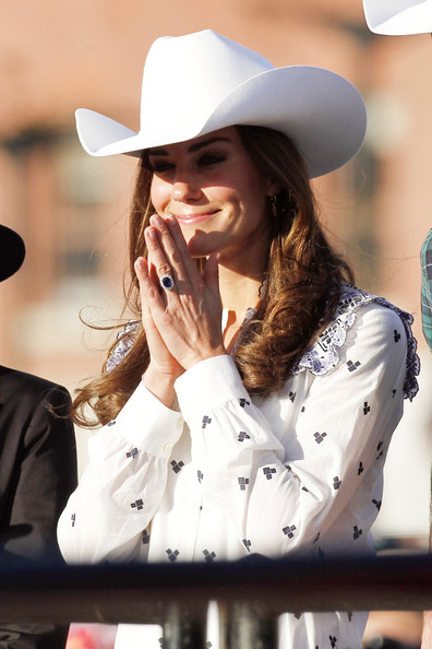 Cowgirl Kate Middleton wearing natural untreated blue sapphire engagement ring
