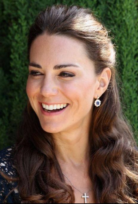 Kate Middleton Wearing natural blue sapphire earrings