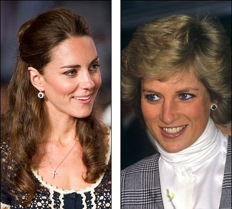 Kate and Princess Diana wearing natural blue sapphire earrings