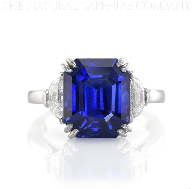 Natural Untreated Blue Sapphire and Diamond Three Stone Engagement Ring
