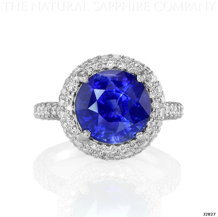 Natural Untreated Blue Sapphire and Pave Diamond Engagement Ring
