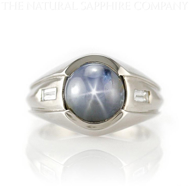 Natural Untreated Star Sapphire and Diamond Ring