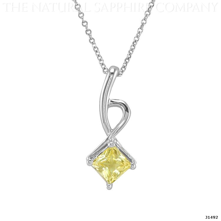 J1492 Natural Untreated Princess Cut Yellow Sapphire Pendant