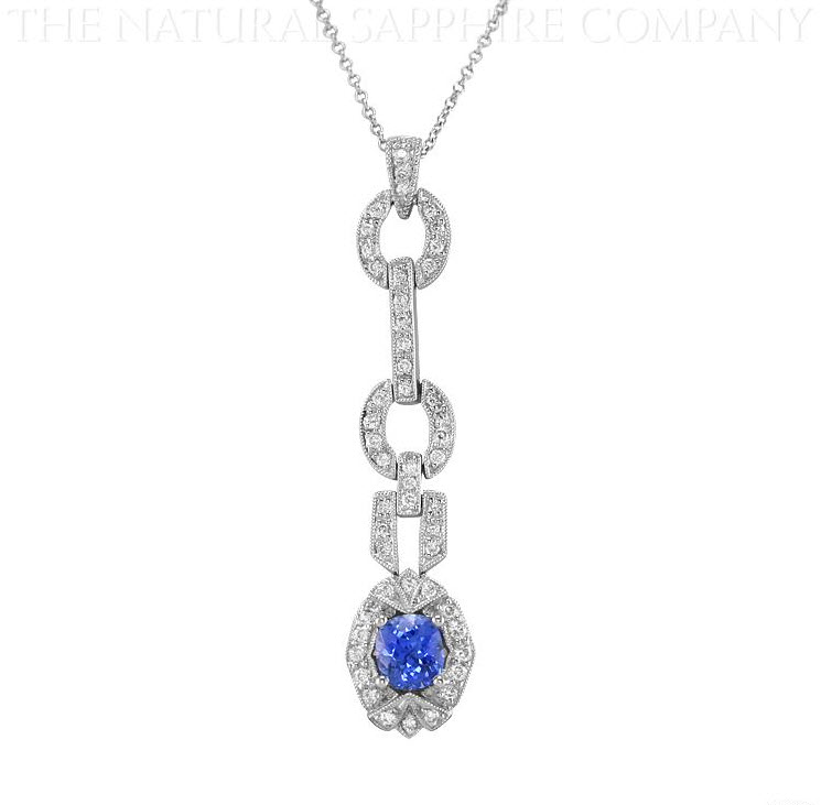 J1784 Natural Untreated Blue Sapphire and Diamond Pendant