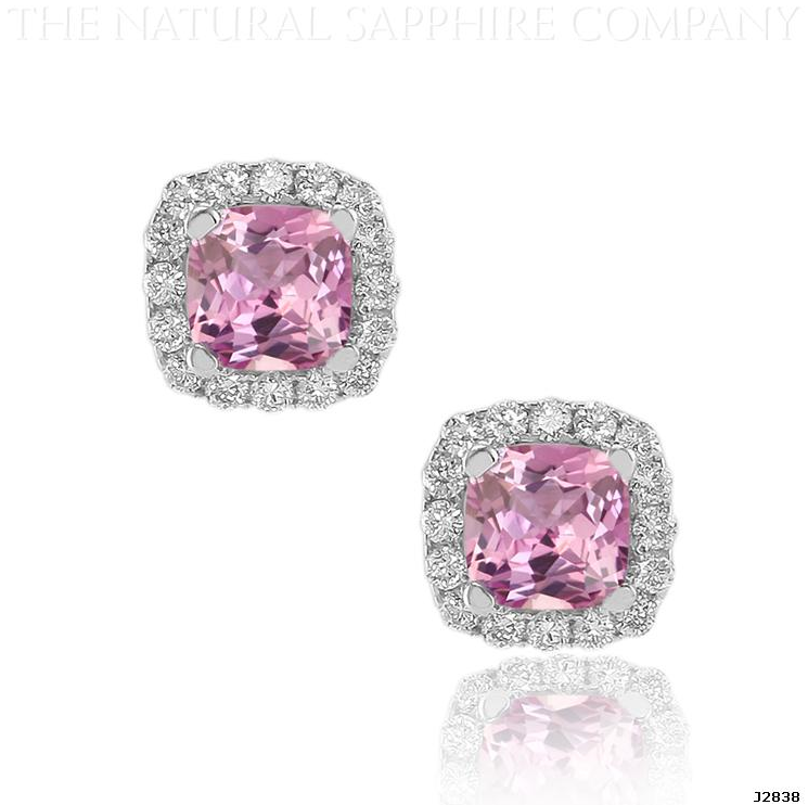 J2838 Natural Untreated Pink Shire And Diamond Earrings