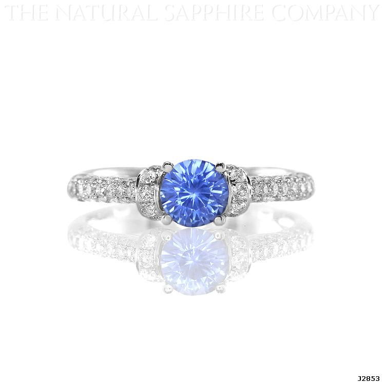 J2853 Natural Untreated Blue Sapphire and Diamond Ring