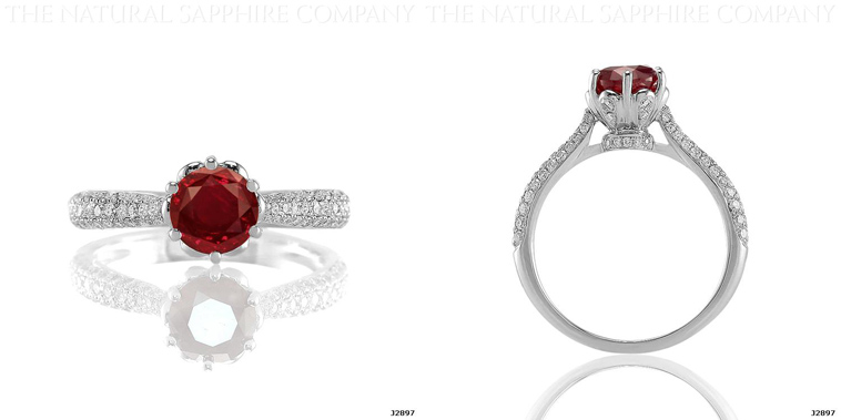 J2897 Natural Untreated Ruby and Diamond ring