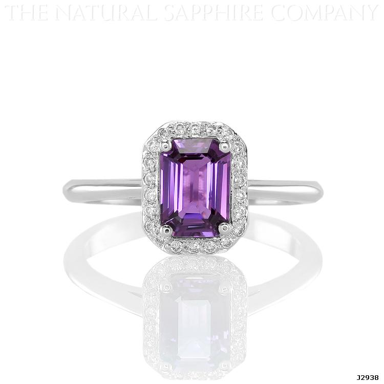 J2938 Natural Untreated Purple Sapphire and Diamond ring