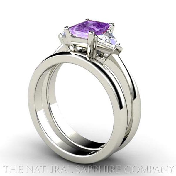 Natural Purple Sapphire Three Stone Engagement Ring and Wedding Band
