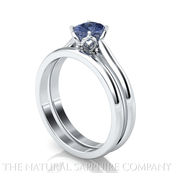 Natural Solitaire Blue Sapphire Ring And Wedding Band