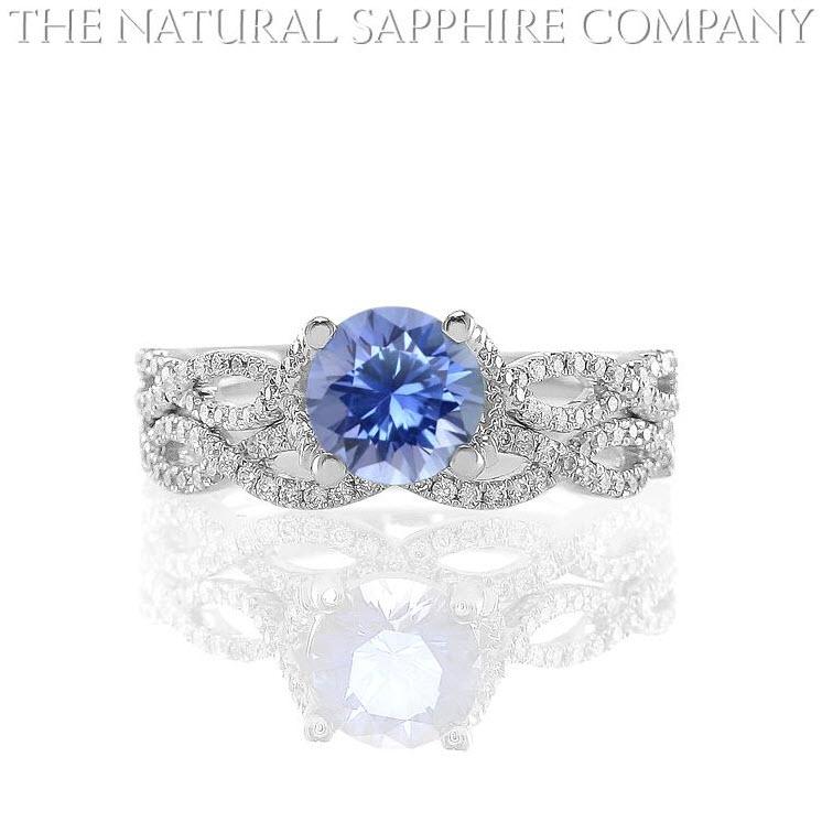 Natural Untreated Blue Sapphire And Diamond Wedding Set