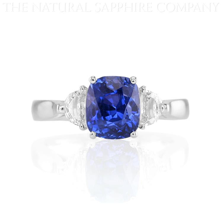 Natural Untreated Cushion Cut Blue Sapphire and Diamond Engagement Ring The