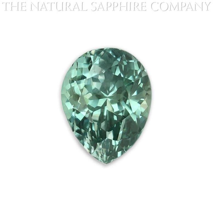 Natural Untreated Pear Shape Bluish Green Montana Sapphire