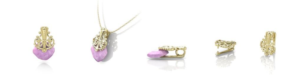 pink crystal sapphire pendant