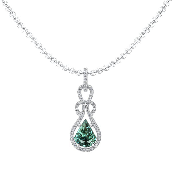 Natural Untreated Bluish Green Sapphire Necklace