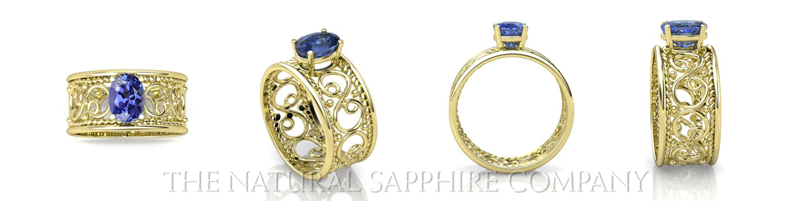 different views of blue sapphire rings in yellow gold