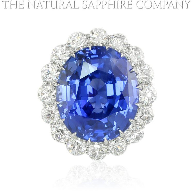 Natural Untreated Blue Sapphire and Diamond Ring