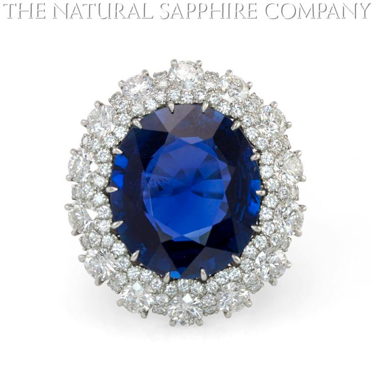 Natural Untreated Burmese Blue Sapphire and Diamond Ring