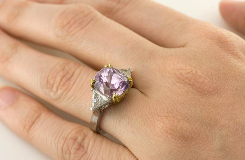 natural pink sapphire engagement ring j2654