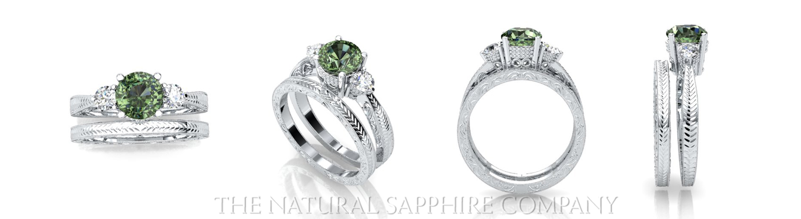 green sapphire rings in white gold