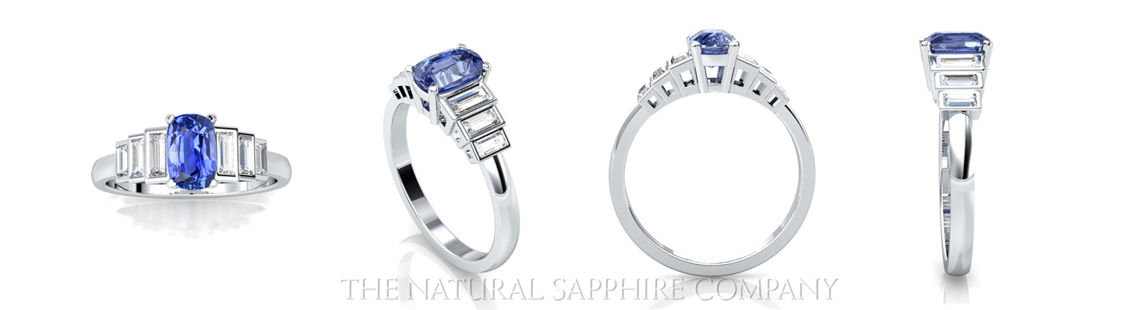 rendering images of blue sapphire rings in white gold
