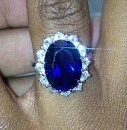 Bobbi Kristina's oval blue sapphire engagement ring