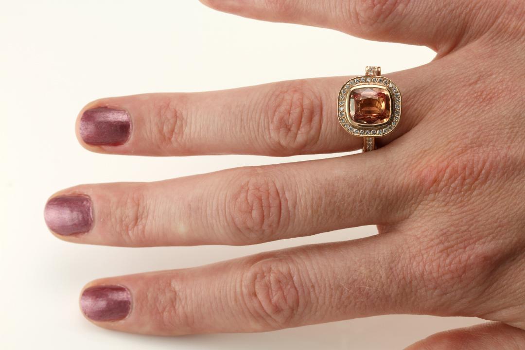 cognac sapphire ring on hand