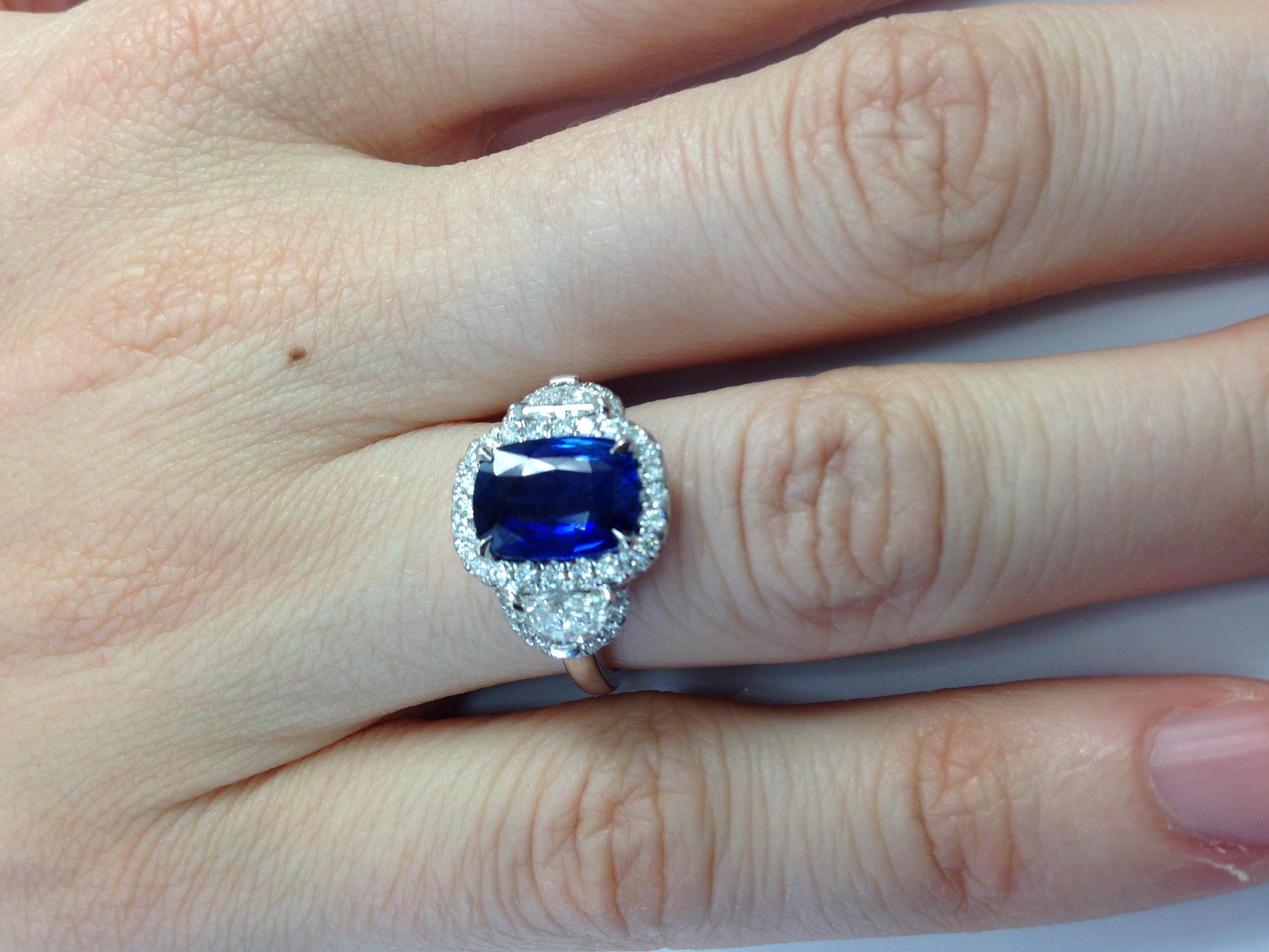 kamper ring gold rings baguette lily blue pav engagementring sapphire cube engagement diamond double stripe product