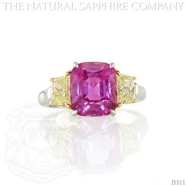 4.37ct Cushion Cut Pink Sapphire Between Intense Yellow Diamonds