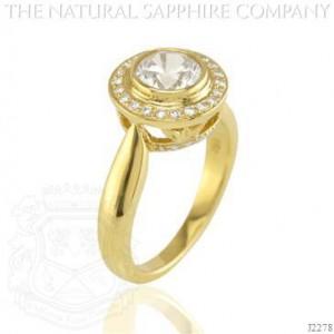 White Sapphire and Diamond Engagement Ring