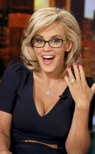 Jenny McCarthy revealing her 10 carat yellow sapphire engagement ring