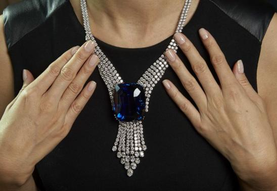 "File picture of a Christie's staff member wearing ""The Blue Belle of Asia"" in Geneva"