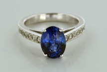 sapphire and diamond-encrusted platinum ring