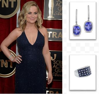 Amy Poelher and her sapphire earrings