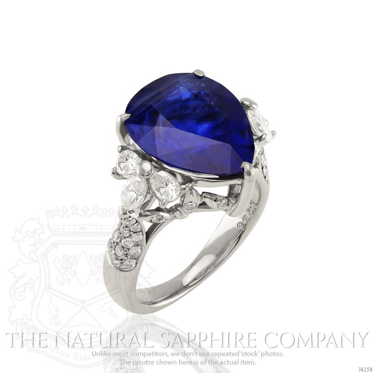 Our Beautiful 8.23 ct. Pear  Blue Sapphire Ring