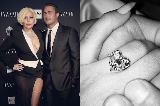 Lady Gaga and Taylor Kinney with Gaga's heart shaped engagement ring.